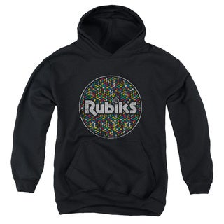 Rubik's Cube/Circle Pattern Youth Black Pull-Over Hoodie