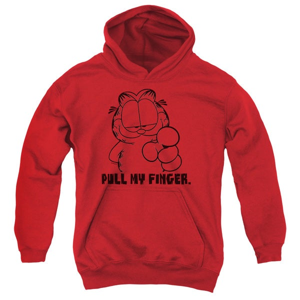 Garfield/Pull My Finger Youth Pull-Over Hoodie in Red