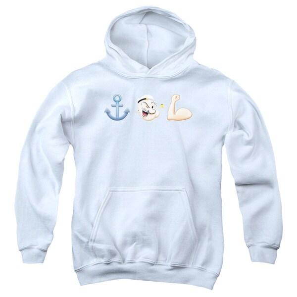 Popeye/Emoji Youth White Pullover Hoodie