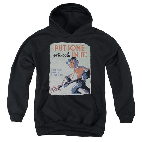 Popeye/Hard Work Youth Black Cotton/Polyester Pullover Hoodie