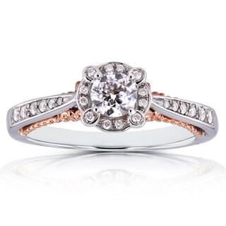 Annello 14k Two Tone Gold 1/2ct TDW Diamond Unique Halo Ring (H-I, I1-I2)