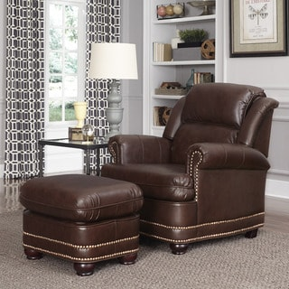 Beau Brown Bonded Leather Stationary Chair with Ottoman