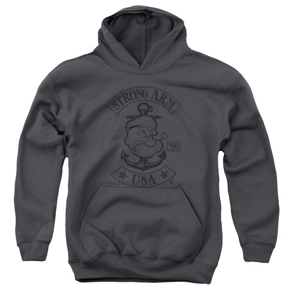 Popeye/Strong Arm Mc Youth Pull-Over Hoodie in Charcoal