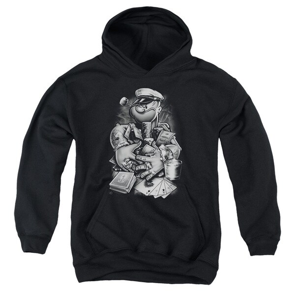 Popeye/Mine All Mine Youth Pull-Over Hoodie in Black