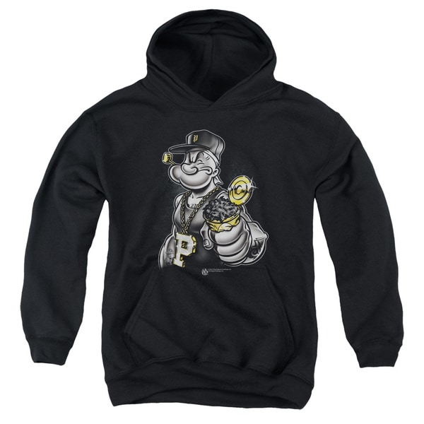 Popeye/Get More Spinach Youth Black Pull-over Hoodie