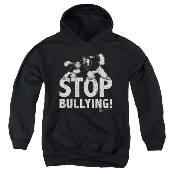 Popeye/Stop Bullying Youth Black Pullover Hoodie