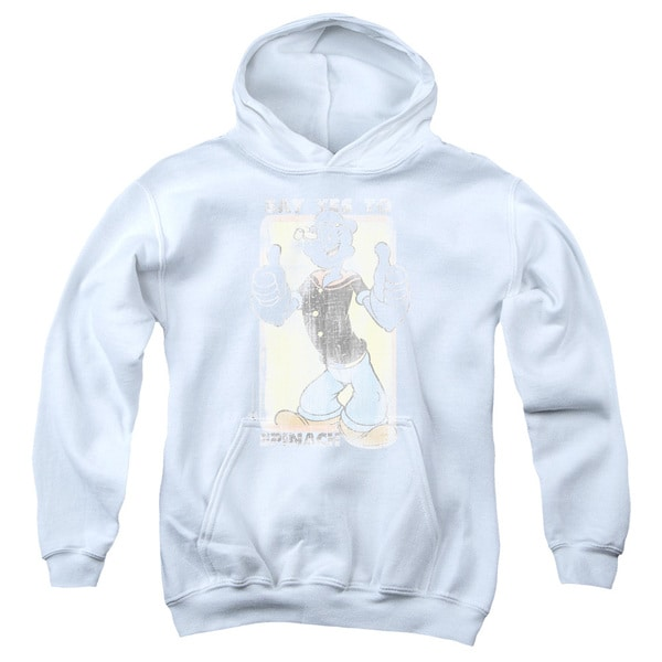 Popeye/Say Yes To Spinach White Youth Pullover Hoodie