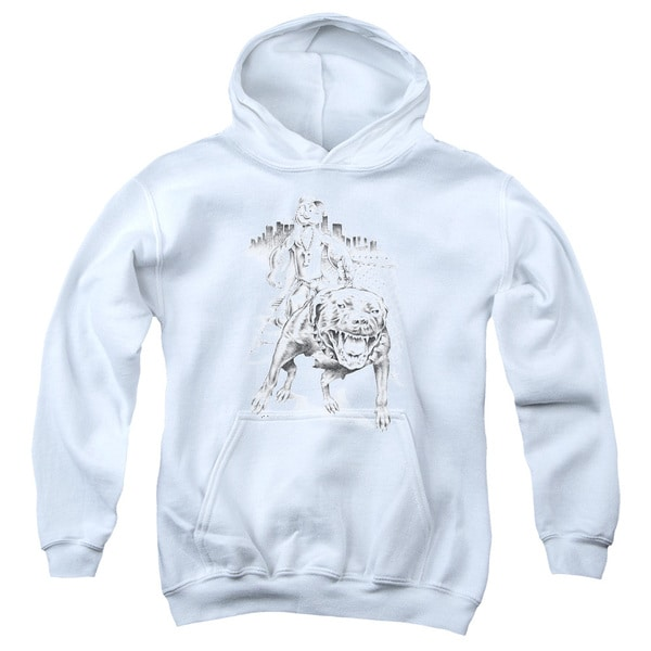 Popeye/Walking The Dog Youth Pull-Over Hoodie in White