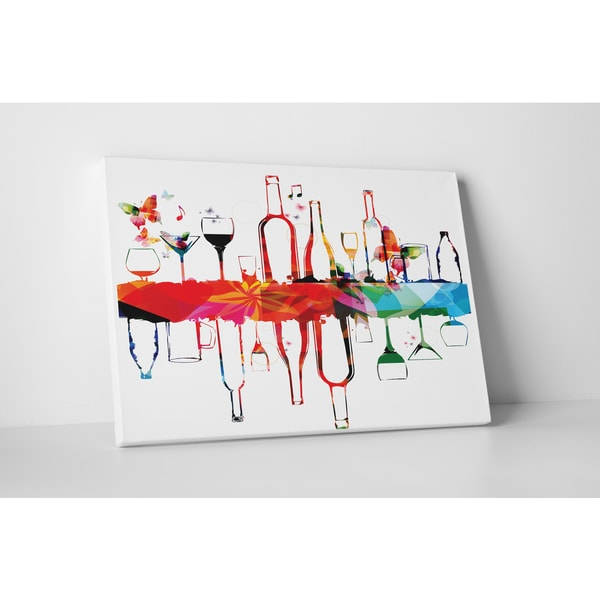 Kitchen Art 'Alcohol Glasses Folded and Flipped' Gallery Wrapped Canvas Wall Art