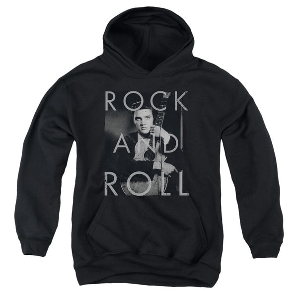 Elvis/Rock and Roll Black Youth Pullover Hoodie