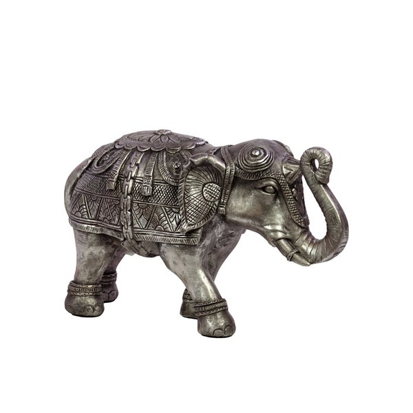 Beautifully Decorated Resin Elephant Figurine In Silver (Small) 18663712