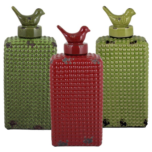 (Set Of 3) Assorted Uniquely Styled Ceramic Jars By Entrada