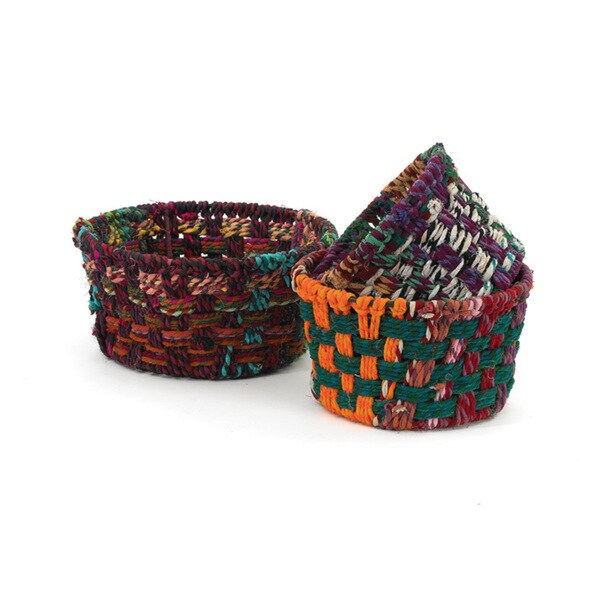 Colorful Woven Round Baskets