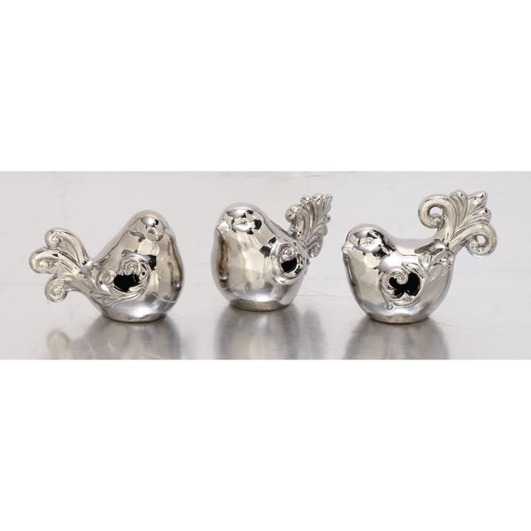 Adorable Set Of Three Ceramic Silver Birds