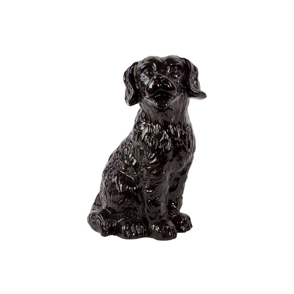 Ceramic Attentive Dog With Fluffy Hair In Black