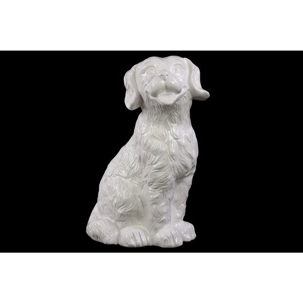 Ceramic Attentive Dog With Fluffy Hair In White