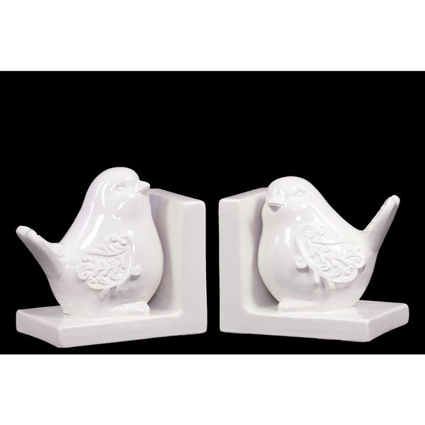 Delightful & Endearing Ceramic Bird Bookend Embellished With Beautiful Motif White