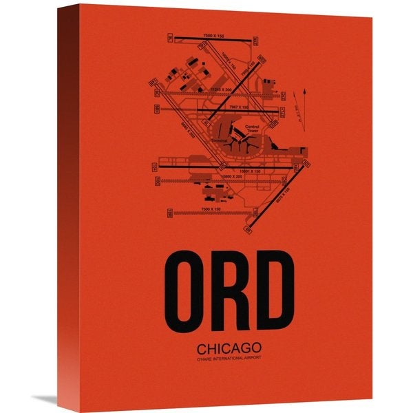 Naxart Studio 'ORD Chicago Airport Orange' Stretched Canvas Wall Art