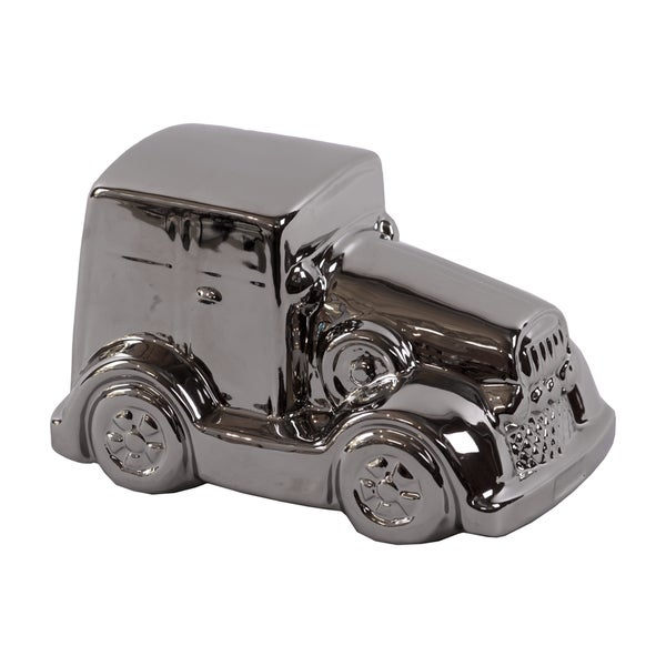 Traditional Style Rolls Royce Ceramic Car In Polished Silver Finish
