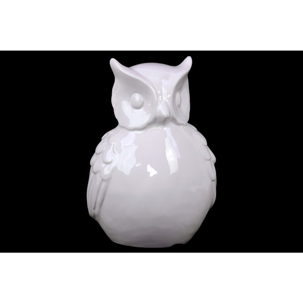 Ceramic Owl With Big Beautiful & Hypnotizing Eyes In White