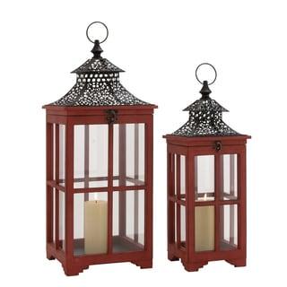 The Beautiful (Set Of 2) Wood Metal Glass Lantern