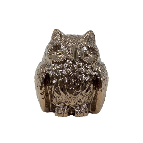 Captivating & Attractive Ceramic Hooting Owl In Gold Finish 18665060