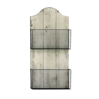 Two Wire Mesh Wall Basket With White Finish Mdf Plaque