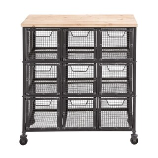 The Must Have Metal Wood Basket Cart