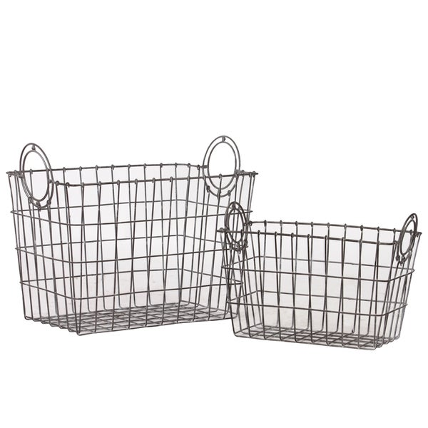Attractive Rectangular Shape Wire Meshed Basket With Circular Side Handles (Set Of 2)