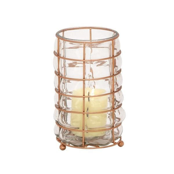 Alluring Glass Metal Lantern Copper