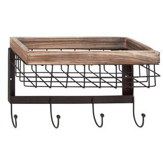 Unique Patterned Wood Metal Wall Basket Hook