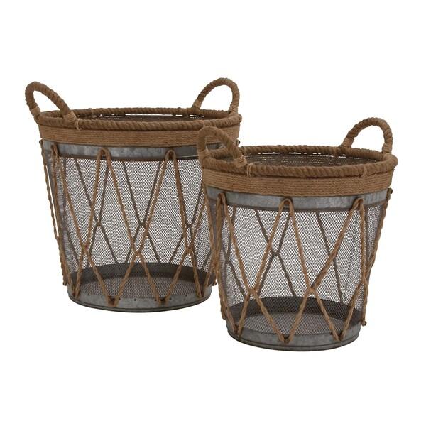 The Cool (Set Of 2) Round Metal Burlap Basket