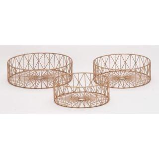 Exclusive Metal Copper Baskets (Set Of 3)