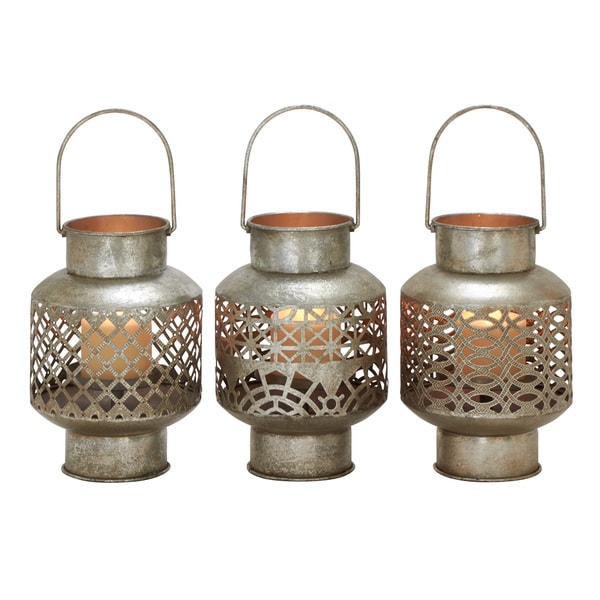 Unique Styled Metal Glass Lantern 3 Assorted 18665481