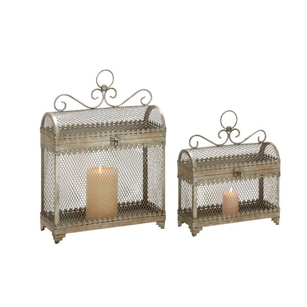(Set Of 2) Enticing And Unique Styled Metal Candle Lantern 18665495