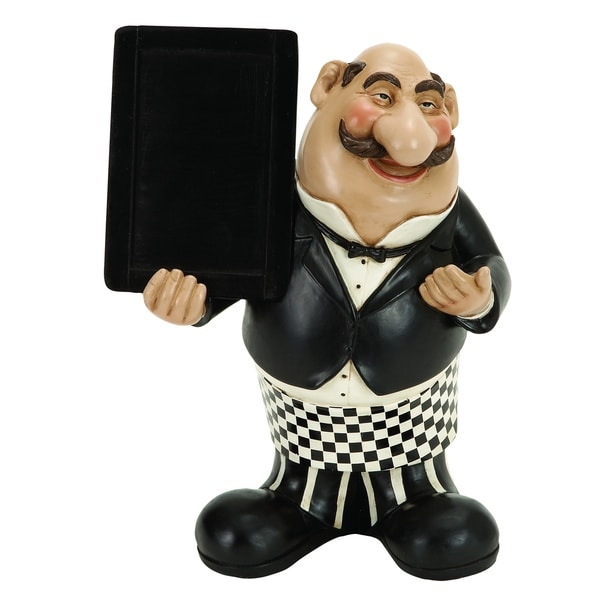 Polystone Waiter W/Chalkboard Come To Dine