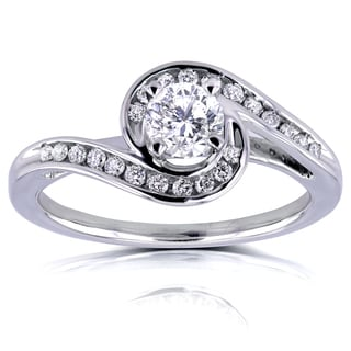 Annello 14k White Gold 1/2ct TDW Round Diamond Bypass Style Engagement Ring (H-I, I1-I2)