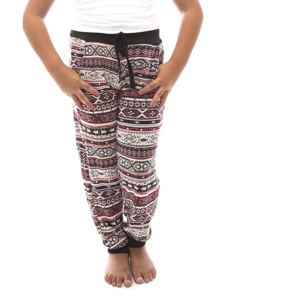 Soho Kids Girls Red/ White Tribal Print Casual Jogger Pants
