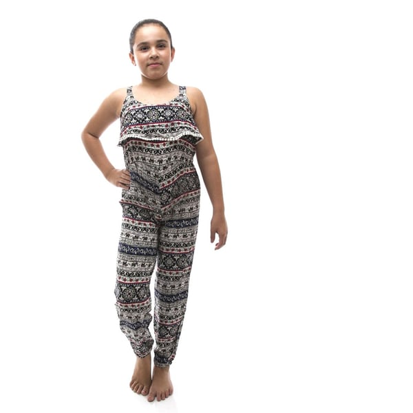 Soho Kids Girls Black/ White Tribal Print Casual Jumpsuit Pants