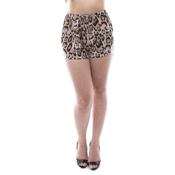 Soho Women Brown Leopard Crochet Comfy Soft Shorts