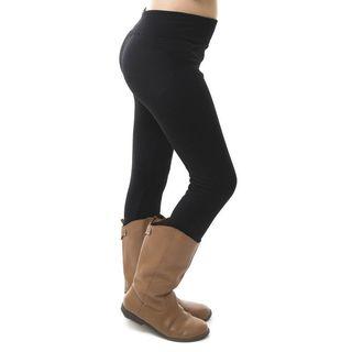 Soho Kids Black Solid Pattern Textured Fleece Leggings Pants