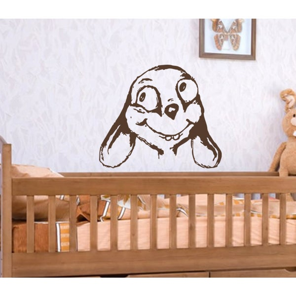 Funny dog muzzle Wall Art Sticker Decal Brown