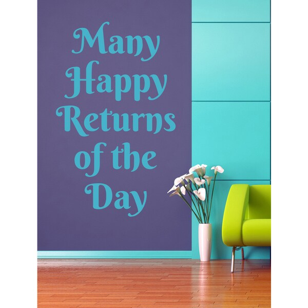 Many happy returns of the day quote Wall Art Sticker Decal Blue