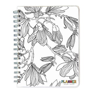 2017 Academic Year Color Me Plans Black and White Spiral Engagement Planner
