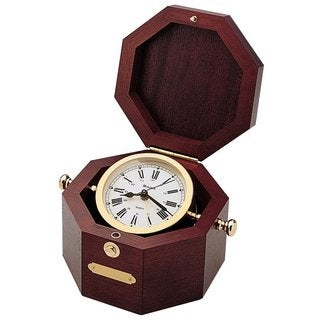 Bulova B7910 QuartermasterMahogany Solid Wood Chest Polished Brass Analog Clock