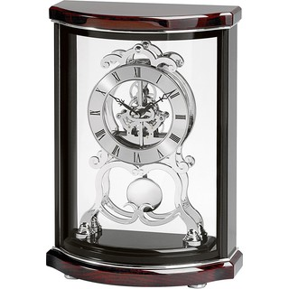 Bulova B2025 Wentworth Brown Mahogany-piano-finish Polished-chrome Mantel Clock