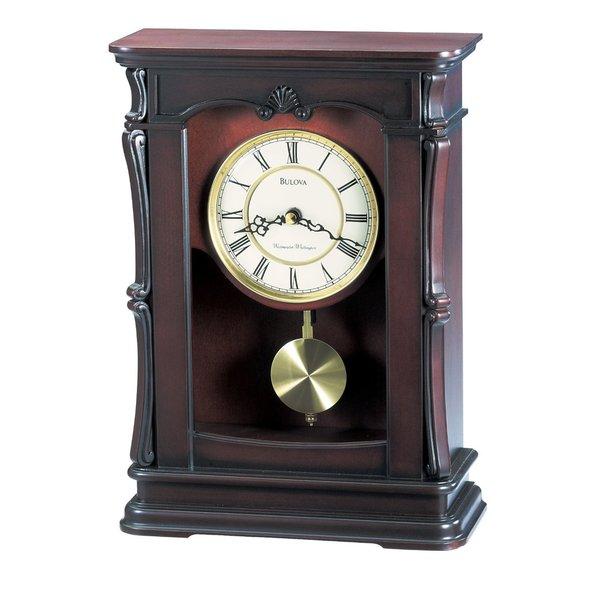 Bulova B1909 Abbeville Wood Pendulum Mantel Clock