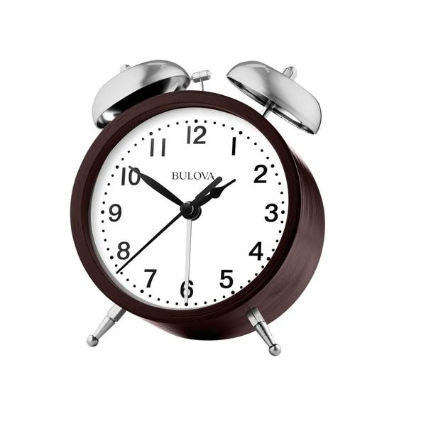 Bulova B5026 Quartz Bent Wood Espresso Bell Alarm Analog Clock