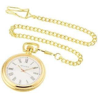 Bulova Ashton B2662 Polished Brass Pocket Watch With Hardwood Box