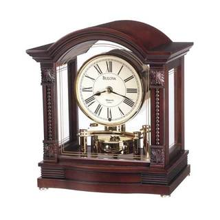 Bulova B1987 Bardwell Analog Walnut Wood Finish Polished Brass Mantle Clock